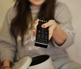 woman girl remote watching